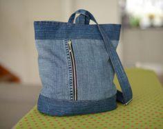Denim Hobo bag / Blue denim handbag / Recycled Hobo bag / Shoulder Bag / Large…