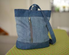 Denim Hobo bag / Blue denim handbag / Recycled Hobo by PrettyMarry
