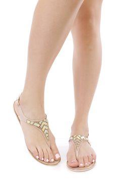 Nude Rhinestone Holographic Thong Sandals PVC