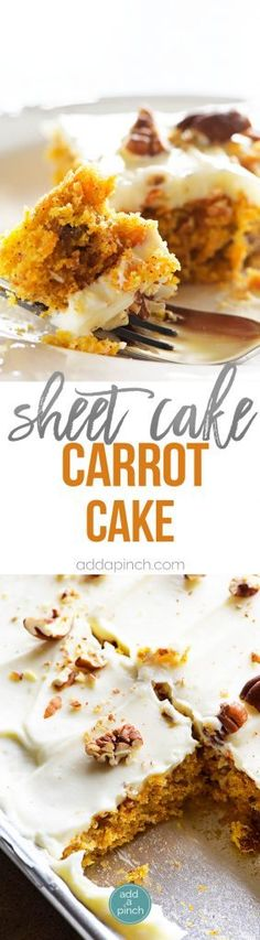 Carrot Cake Sheet Cake Recipe - This Easy Carrot Cake Sheet Cake recipe comes together easily and bakes into a beautiful, delicious carrot cake! Topped with a fluffy cream cheese frosting, this carrot cake is one everyone asks for the recipe! Brownie Desserts, Ice Cream Desserts, Köstliche Desserts, Brownie Recipes, Delicious Desserts, Dessert Recipes, Breakfast Dessert, Dessert Bars, Sheet Cake Recipes