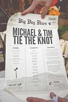 Newspaper-Inspired Ceremony Programs | Feather Love Weddings | TheKnot.com