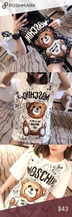 MOSCHINO Teddy (2) Order on Poshmark is now available!   Women's sizes are available only (XS-L).  Very fitted or worn oversized.  For sizing inquiry please email dandyshop17@gmail.com Love Moschino Tops Tees - Short Sleeve