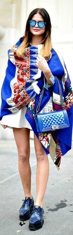 street style Paris FW S/S15 #Scarf #Cape #SummerBrights