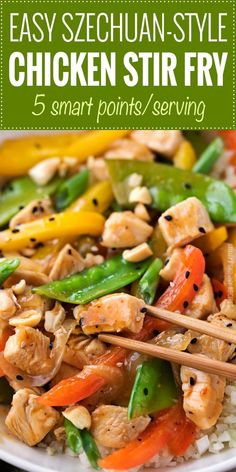 This Szechuan-style Chicken Stir Fry is the quickest and easiest weeknight meal! Bold flavors, full of nutritious ingredients and ready in just 20 minutes! | #chicken #stirfry #asianrecipe #weeknightmeal #easydinner #szechuan #freestyle #weightwatchers