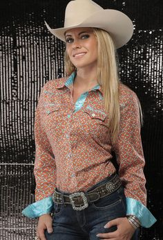 CRUEL GIRL RODEO Western Barrel ARENA FIT ORANGE Turquoise SHIRT COWGIRL NWT XL #CruelGirl #Western