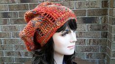 Womens Crochet Slouch Hat Beanie, Womens knit crochet slouchy hat, Womens crochet burnt orange color hat, Womens crochet fall colors hat by HandMadeFashions on Etsy
