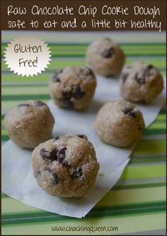 Safely eat raw cookie dough! Raw Chocolate Chip Cookie Dough Recipe that's safe to eat and a little bit healthy with a gluten free option