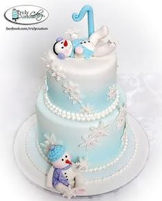 Precious snowman cake - great for a baby shower or birthday!