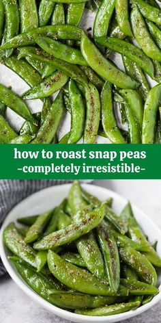 Super sweet and full of flavor, roasted sugar snap peas are like green candy - you won't be able to leave them alone. Try roasting a batch today! Pea Recipes, Side Dish Recipes, Vegetarian Recipes, Cooking Recipes, Healthy Recipes, Veggie Recipes Sides, Vegetarian Grilling, Vegetable Sides, Vegetable Side Dishes