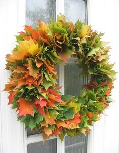 21 a super lush fall wreath made of real fall laves of various colors will make a statement both indoors and outdoors - DigsDigs Autumn Wreaths, Christmas Wreaths, Outdoor Wreaths, Leaf Crafts, Autumn Decorating, Fall Home Decor, Fall Pumpkins, Diy Wreath, How To Make Wreaths