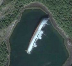 Another abandoned ship near Murmansk.(from Google Earth) by yo_dmitriy, via Flickr