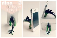 DIY Dinosaur Cell Phone Stand Tutorial from Eat.Sleep.Make here.