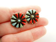 Turquoise and Coral Petit Point Earrings  Sterling by VintageParis