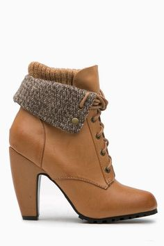 Camel Faux Leather Chunky Fold Over Lace Up Booties