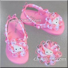 Pink Hello Kitty Woven Flip Flop & Bow Set by GirlyKurlz.com