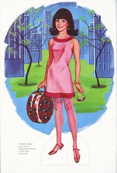 1967 - Marlo Thomas as That Girl! -  'That Girl' Paper Doll Book - This paper doll book was published during the first season of 'That Girl.' It is notable in having 3 poses all of the title character.