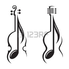 monochrome illustration of violin, guitar and note photo