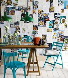 Recipes as wallpaper??hmmmm love the blue chairs and green lights