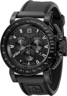 Zodiac ZMX Pitch Black File under: Zodiac, Watches, Accessories. This is their Racing Chrono style, wear at the Indy, and count lap times. Amazing Watches, Beautiful Watches, Cool Watches, Watches For Men, Stylish Watches, Men's Watches, Zodiac Watches, Little Black Books, Luxury Watches