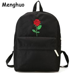 202f8157cf71 Men Heart Canvas Backpack Cute Women Rose Embroidery Backpacks for  Teenagers Women's Travel Bags Mochilas Rucksack School Bags(China)