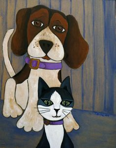 Cliff & Tabitha by ToulaBeagleArt on Etsy, $50.00