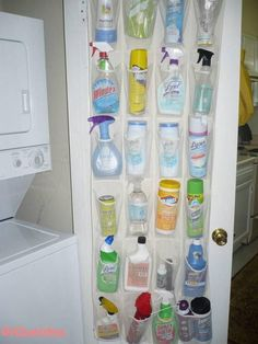 Use a clear plastic or mesh shoe hanger with pockets to store laundry and cleani. Use a clear plastic or mesh shoe hanger with pockets to store laundry and cleaning supplies. Much better than throwing them all under the sink!