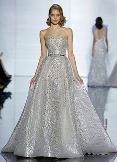 ZUHAIR MURAD 2015, wedding dress Strapless sheath dress with jacquard train and pearl and jewel embroidery