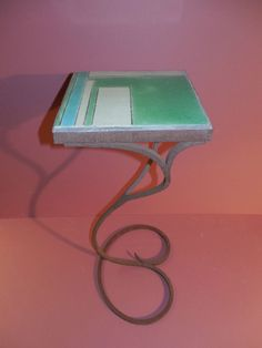 VINTAGE ART DECO TILE TOP TABLE STAND - FREE FORM WROUGHT IRON BASE $200-$350