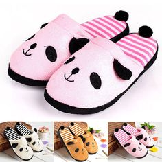 Women Indoor Shoes Panda Tail Warm Winter Coral Velvet Anti Slip Slippers  Newest d77f4f01e