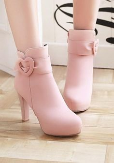 New Women Pink Round Toe Chunky Buckle Fashion Ankle Boots Fancy Shoes, Pretty Shoes, Beautiful Shoes, Cute Shoes, Pink Shoes, Fashion Heels, Fashion Boots, Hijab Fashion, Shoe Boots