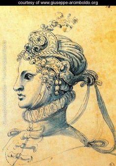 women's masque headdress, Arcimboldo, 1590s.