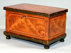 Miniature grain painted blanket chest