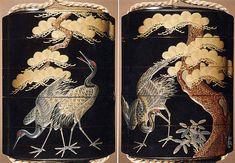 Hogen Kosen | Case (Inrō) with Design of Cranes Standing Beneath a Gnarled Pine Tree and Netsuke Depicting Yoshitsune and Benkei | Japan | Edo period (1615–1868) | The Met