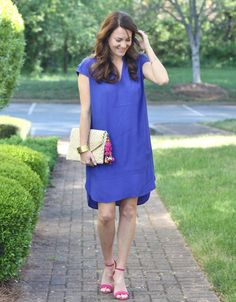 How to style a blue dress on Peaches In A Pod blog.