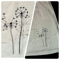 Dandelions on stretch skirt. Machine embroidery from Kreations by Kara.
