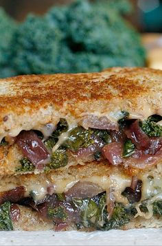 Caramelized Kale and Onion Grilled Cheese