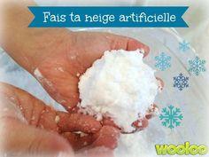 Une recette de neige artificielle, pour ceux qui aiment faire des expériences avec les enfants!