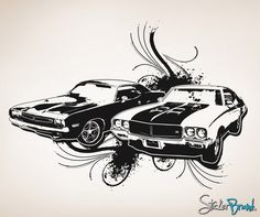 Vinyl Wall Decal Sticker 70's American Muscle Car #OS_AA124