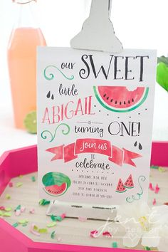 Watermelon First Birthday Party - Watermelon Invitation
