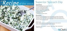 You'll love this no shame Superior Spinach Dip Recipe Courtesy of #eDiets #Nutrihand. | Only 42 calories per serving! For more healthy suggestions, sign up today! https://www.ediets.com/diets/diet-plans/ediets-nutrihand-plans