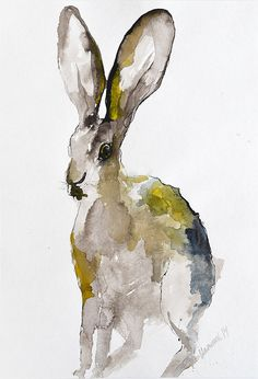 Hare Original Watercolor Painting Expressive by AlisaAdamsoneArt