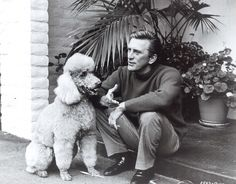 Standard poodle(name unknown) with its human Kirk Douglas