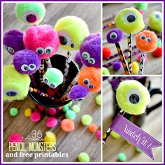 First Grade, Halloween Adorable DIY Monster Pencils . great for the kids to make for there Halloween Class Party at School ! Halloween Class Party, Halloween Crafts For Kids, Halloween Birthday, Holidays Halloween, Halloween Treats, Halloween Diy, Holiday Crafts, Holiday Fun, Halloween Decorations
