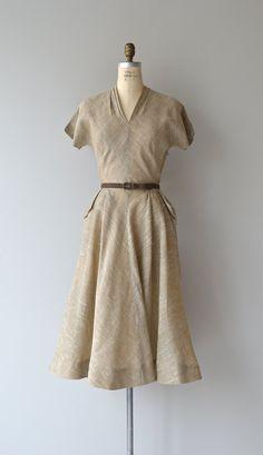 Wonderwood linen dress vintage 1950s dress linen by DearGolden