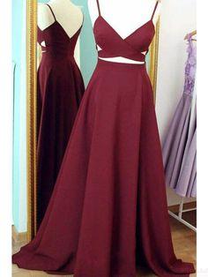 Unique Spaghetti Straps V-neck Long Prom Dresses Evening Dresses # SIMIBridal #promdresses