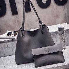 DALF Luxury Designer Leather Tote Clutch Set