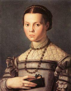 Angnolo Bronzino, Agnolo di Cosimo, (Italian Mannerist artist, 1503-1572) Portrait of a Young Girl 1541-45