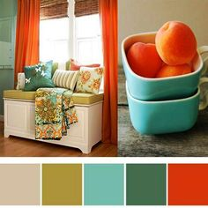 Orange and turquoise Love this color palette. these are the colors of my living room Bedroom Colour Palette, Bedroom Colors, Playroom Colors, Bedroom Decor, Baby Bedroom, Basement Colors, Basement Designs, Ikea Bedroom, Bedroom Curtains