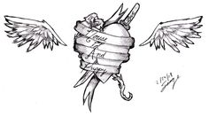 Ribbon Wings Heart Tattoo Design Heart With Wings Tattoo, Heart Tattoo Designs, Cool Tattoos, Ribbon, Best Tattoo Designs, Tape, Treadmills, Coolest Tattoo, Band