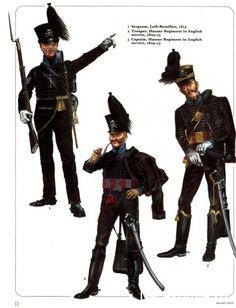 Ducato di Brunswick - Sergente, Leib-Battalion, 1815 - 2) Ussaro, Reggimento Ussari al servizio britannico - 3) Capitano, Reggimento Ussari al servizio britannico